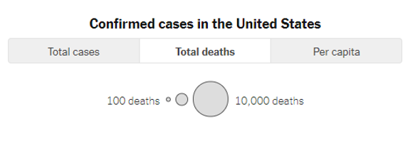 Map key: Confirmed cases/deaths in the United States