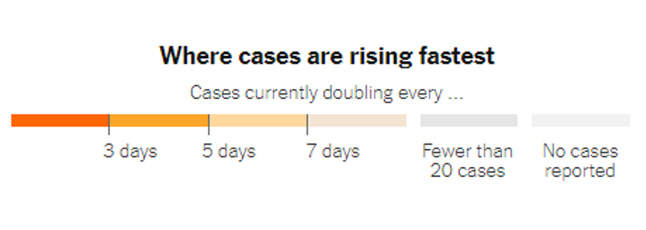 Map key: Where cases are rising the fastest
